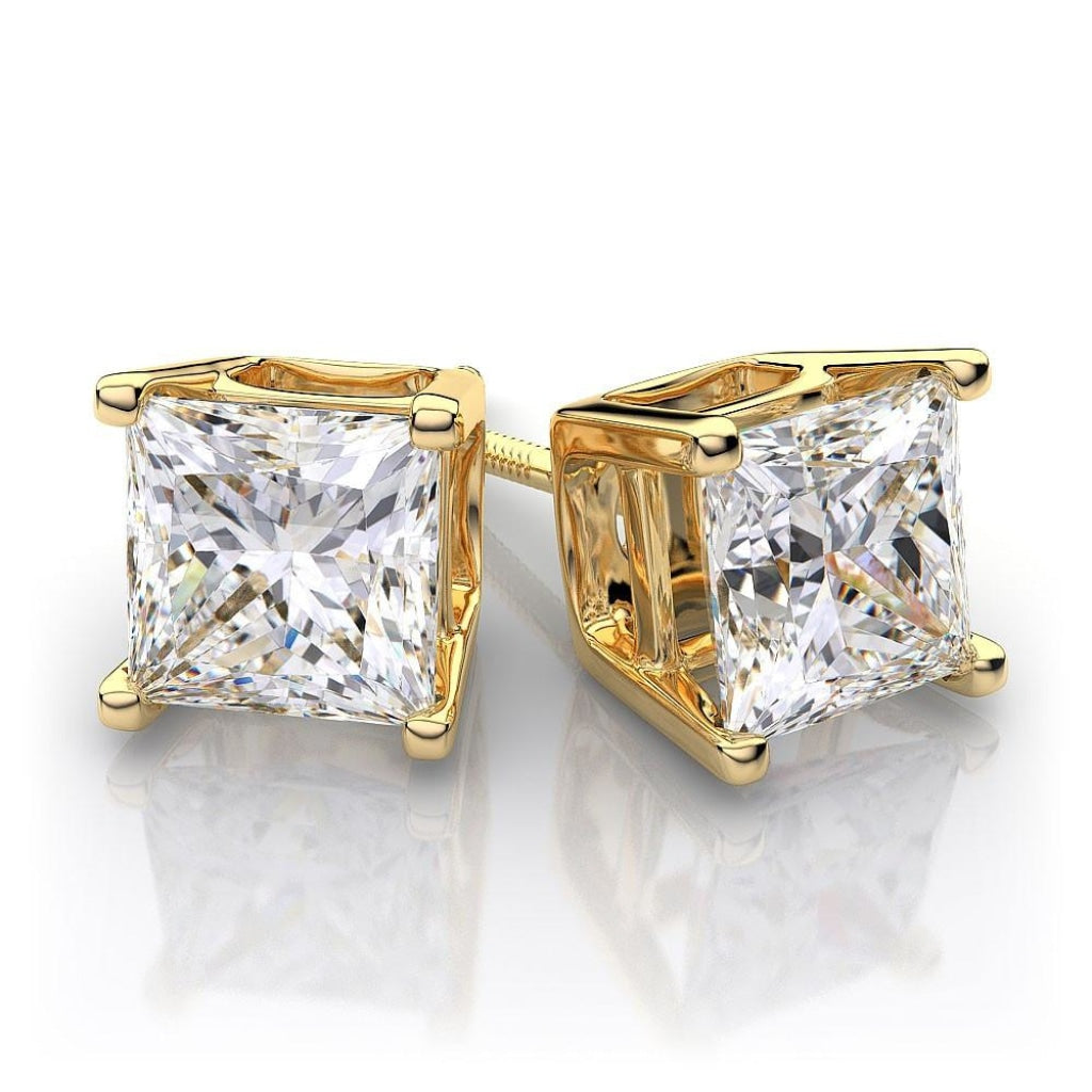 0.25 CT. - 1.00 CT. Princess Diamond Studs in Yellow Gold - White Carat Diamonds