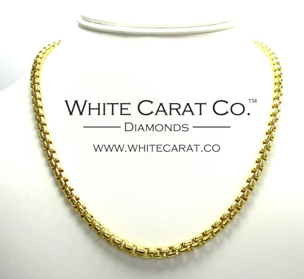 10K Gold Hexagon Link Box Chain - 5.0 mm - White Carat - USA & Canada