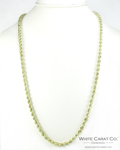 10K Gold Solid Rope Chain - 4.5mm - White Carat Diamonds