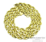 14K Gold Solid Rope Chain - 5mm - White Carat Diamonds