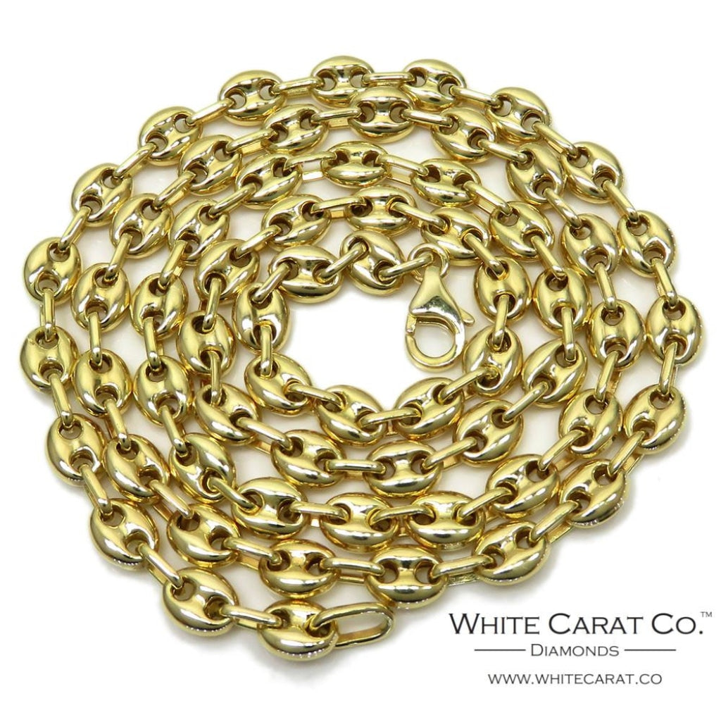 10K Gold Puffed Gucci Link Chain - 5.5 mm - White Carat - USA & Canada
