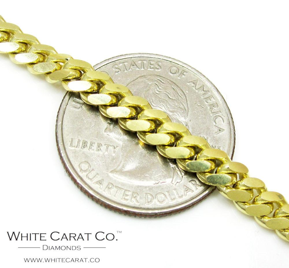 10K Gold Semi-Solid Miami Cuban Chain - 5.0 mm - White Carat Diamonds