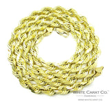 10K Solid Gold Rope Chain - 6.5MM - White Carat Diamonds
