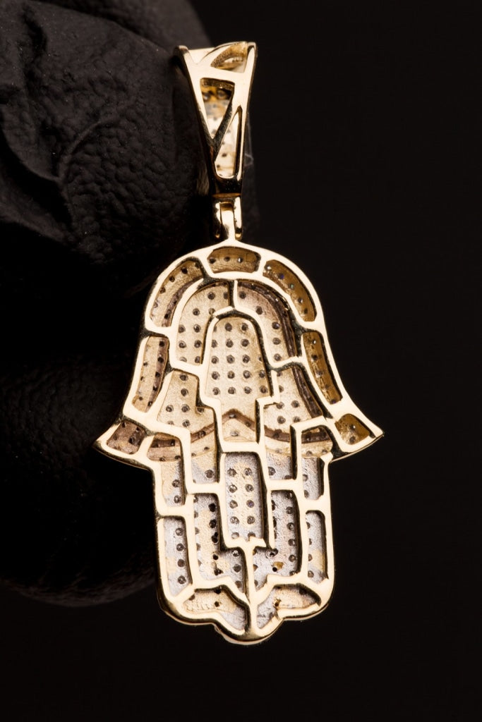 0.66 CT. Diamond Hamsa Protection Hand Pendant in 10K Gold