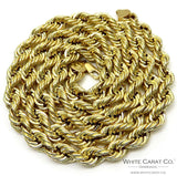 14K Gold Rope Chain (Semi-Solid lightweight) - 9.0mm - White Carat Diamonds