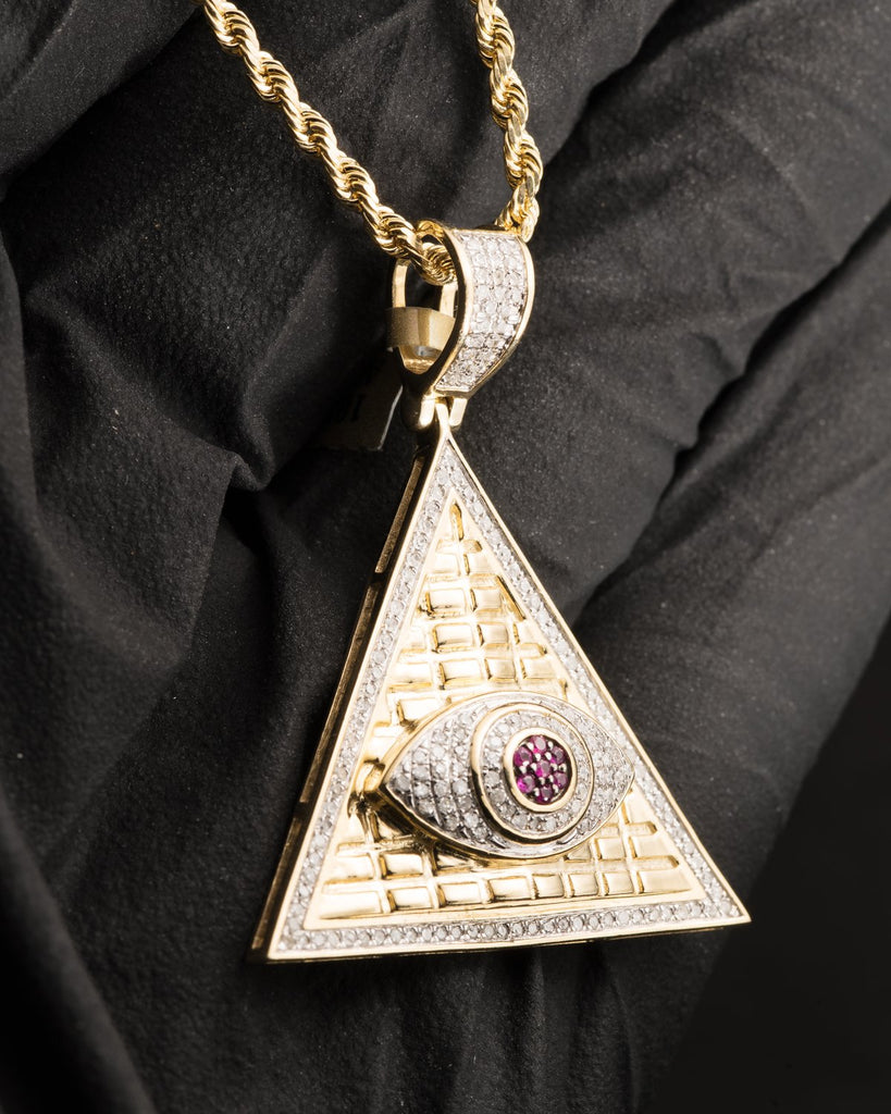 0.38 CT. Triangle Eye Diamond Pendant in 10K Gold - White Carat Diamonds