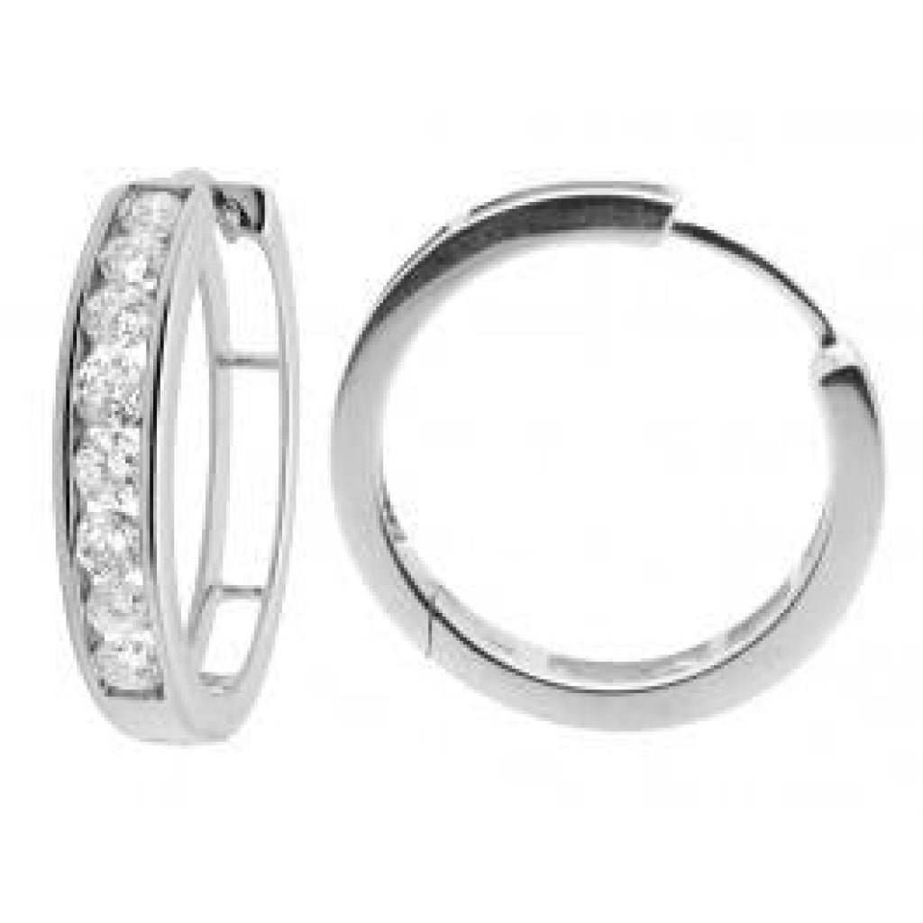 1.00 CT. Diamond Hoop Earrings in 10K White Gold - White Carat - USA & Canada