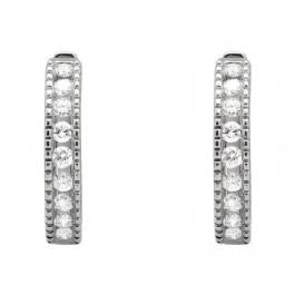 0.26 CT. Millgrain Diamond Hoop Earrings in 10K White Gold - White Carat Diamonds