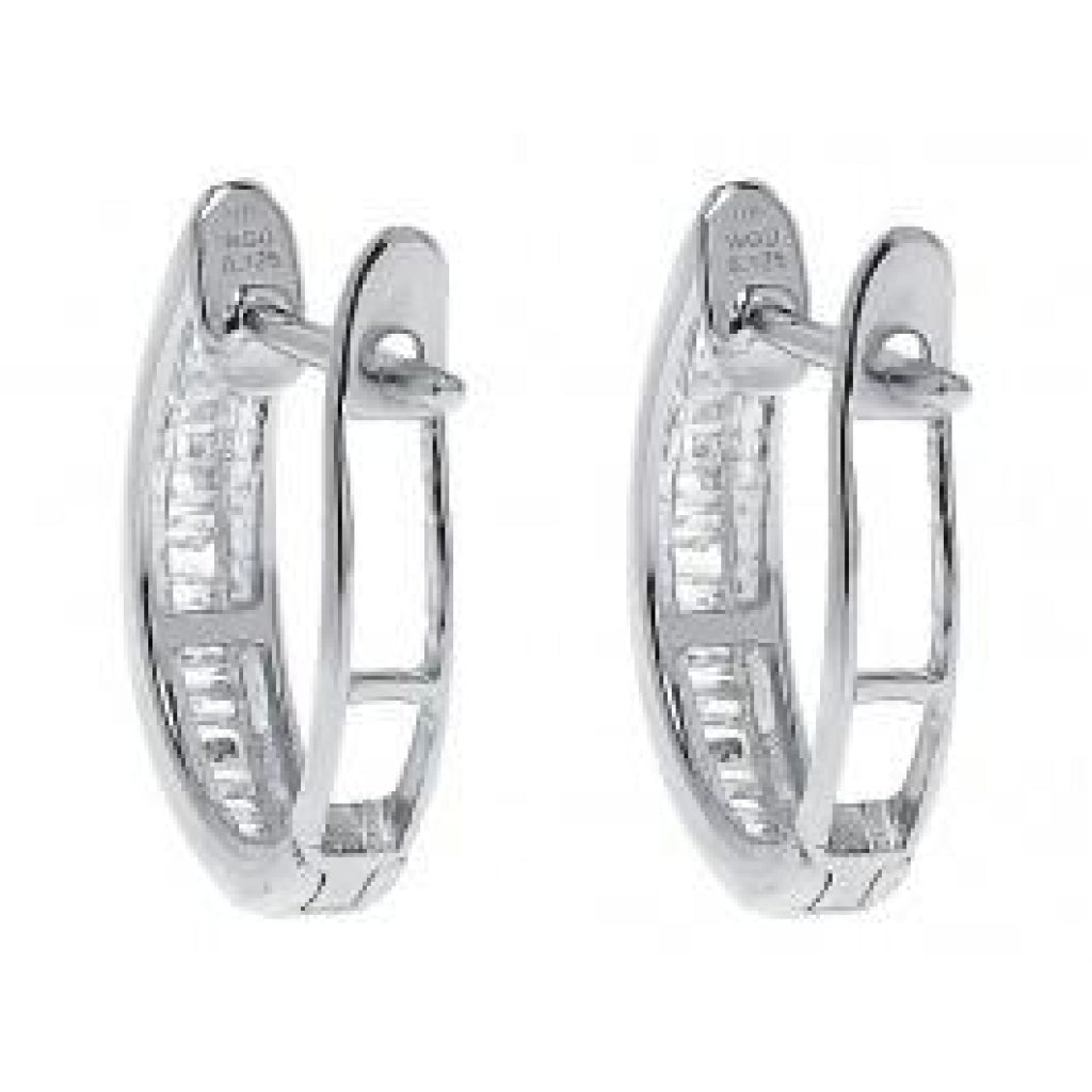 0.25 CT. Baguette Diamond Hoop Earrings in 10K White Gold - White Carat Diamonds