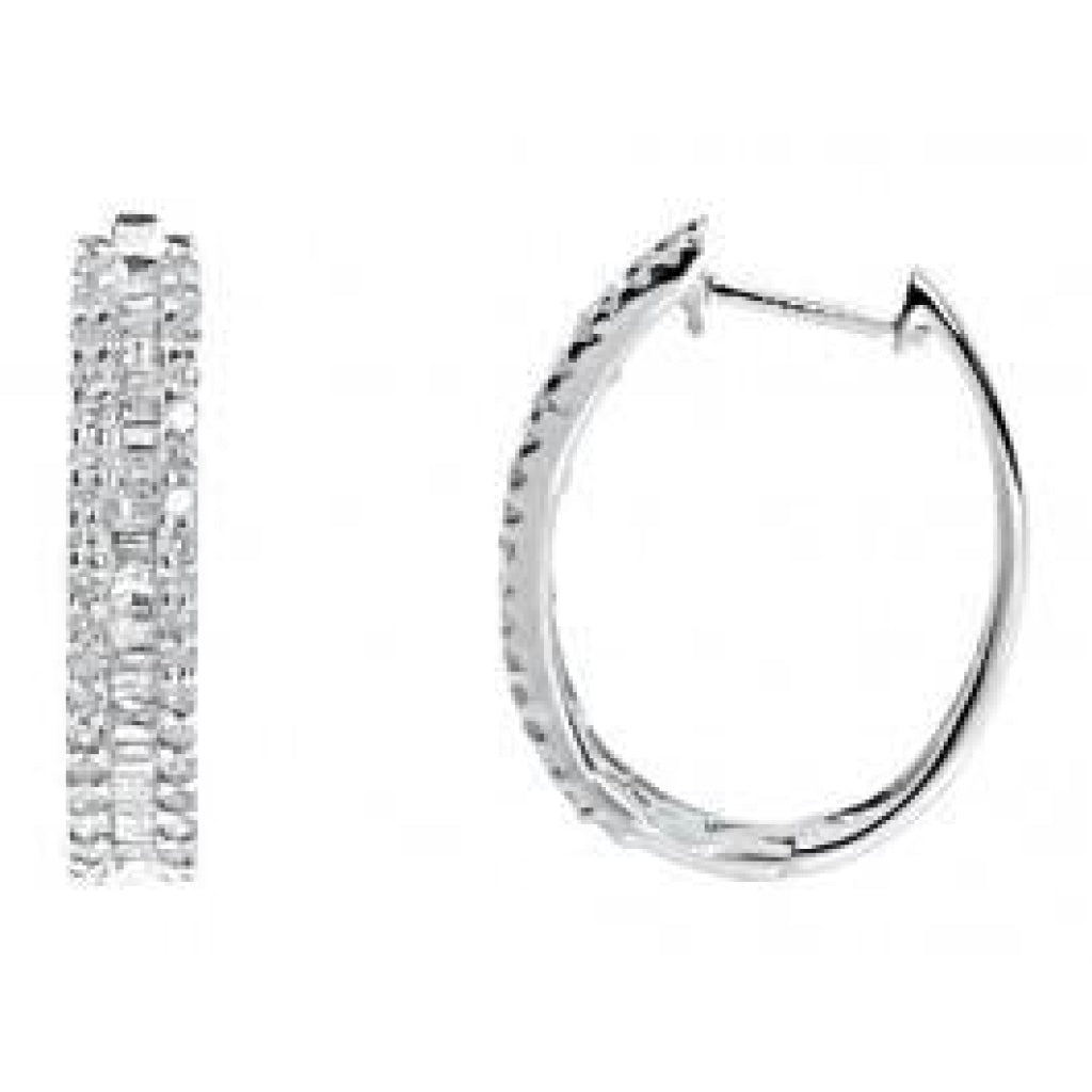 0.73 CT. Baguette Diamond Hoop Earrings in 10K White Gold - White Carat - USA & Canada