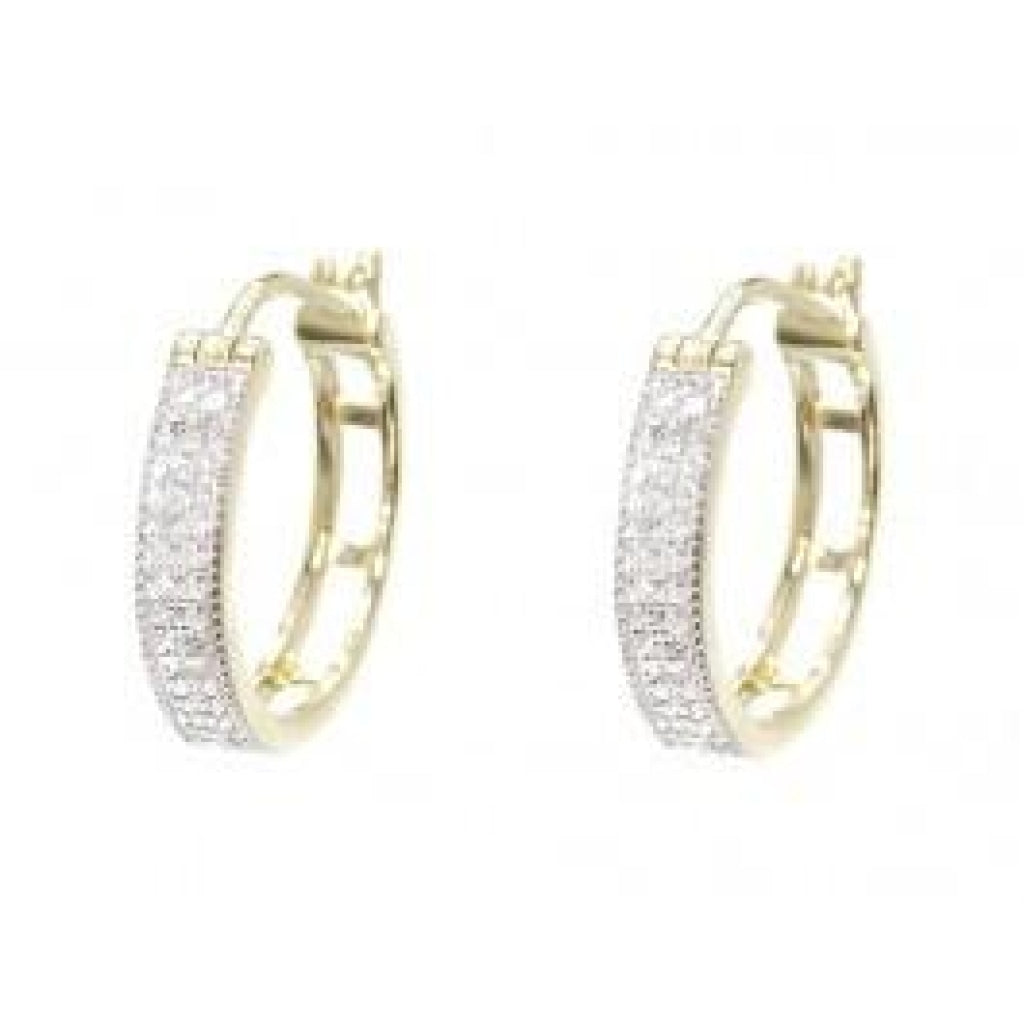 0.33 CT. Pave Diamond Hoop Earrings in 10K Yellow Gold - White Carat Diamonds