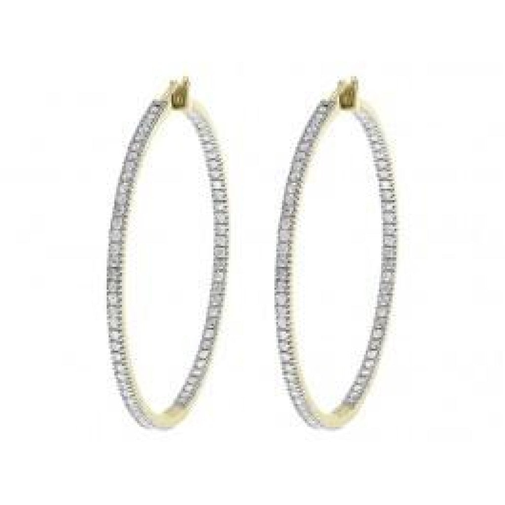 2.00 CT. In Out Diamond Hoop Earrings in 10K Yellow Gold - White Carat Diamonds