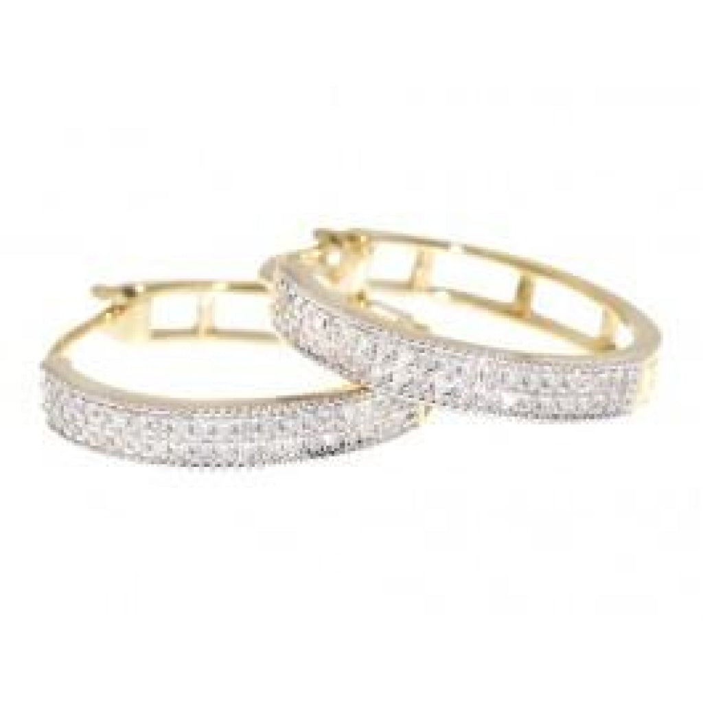 0.27 CT. Two Row Pave Diamond Hoop Earrings in 10K Yellow Gold - White Carat Diamonds