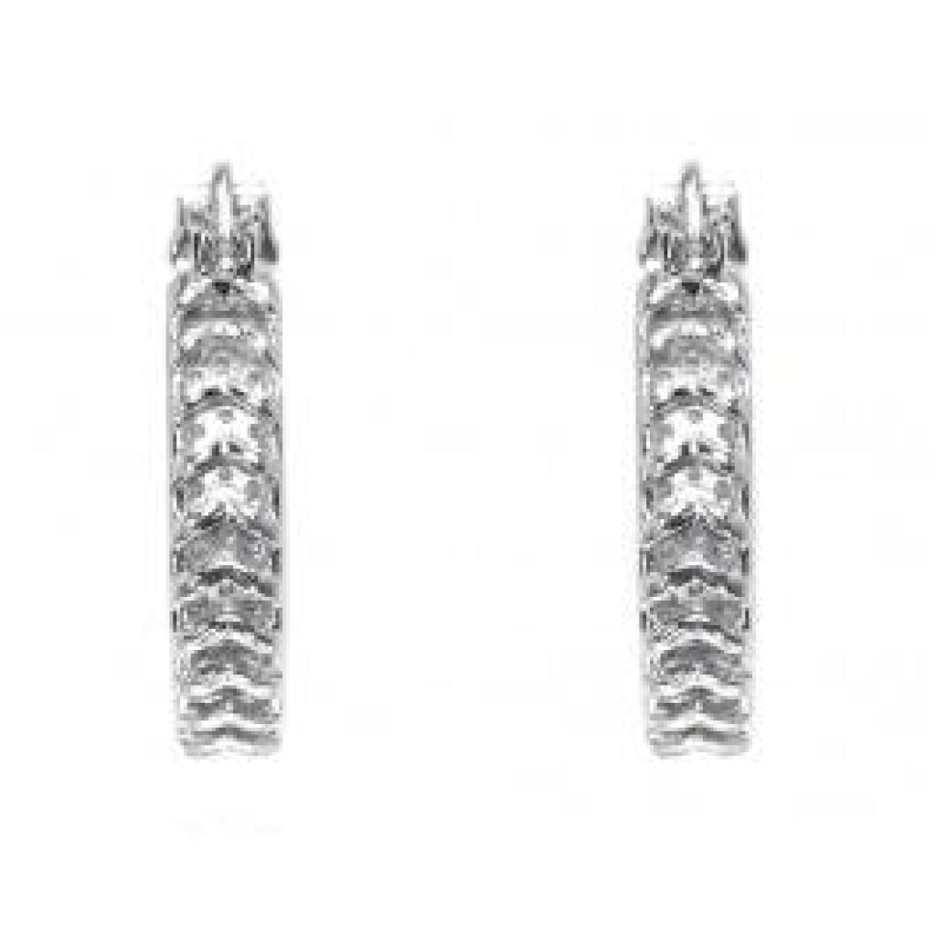 2.00 CT. Four Row Pave Diamond Hoop Earrings in 10K White Gold - White Carat - USA & Canada