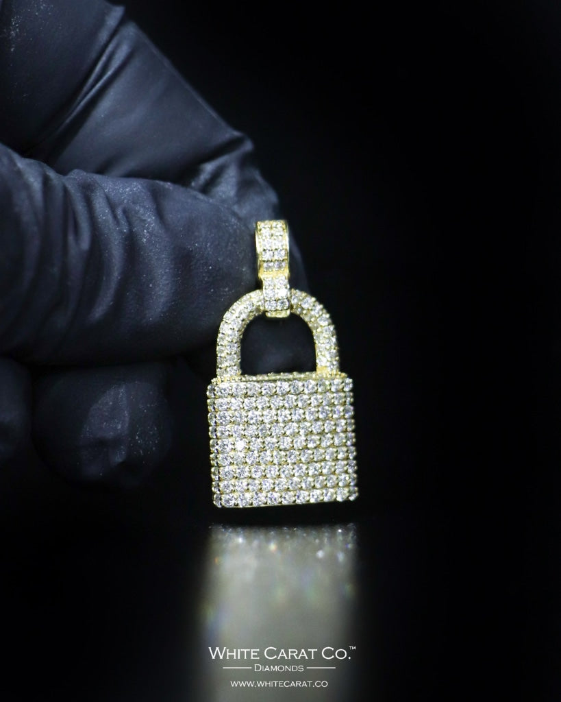 "2.30 CT. ""Large Lock"" Gold Pendant in 14K Gold"