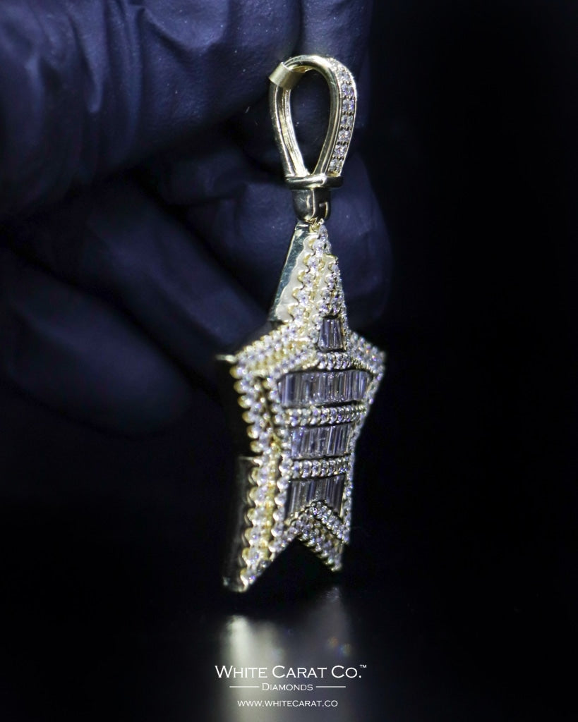 "4.69 CT. ""Large Star"" Gold Pendant in 10K Gold - White Carat - USA & Canada"