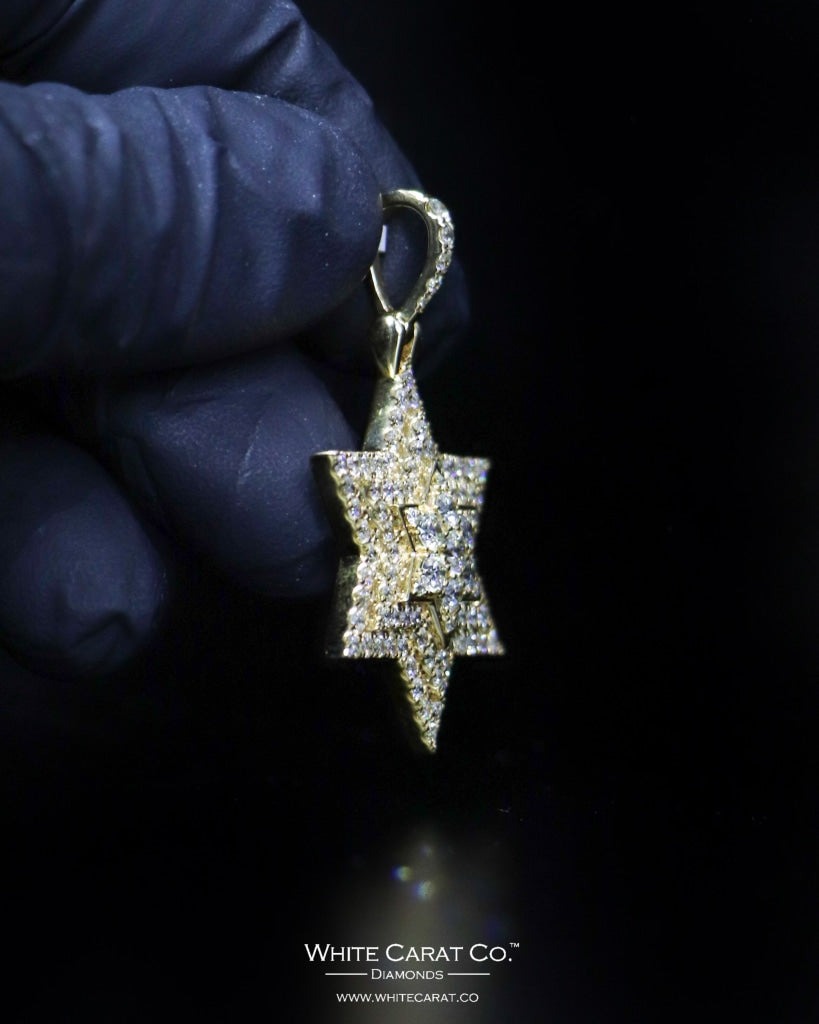 "2.90 CT. ""Star"" Gold Pendant in 14K Gold - White Carat Diamonds"
