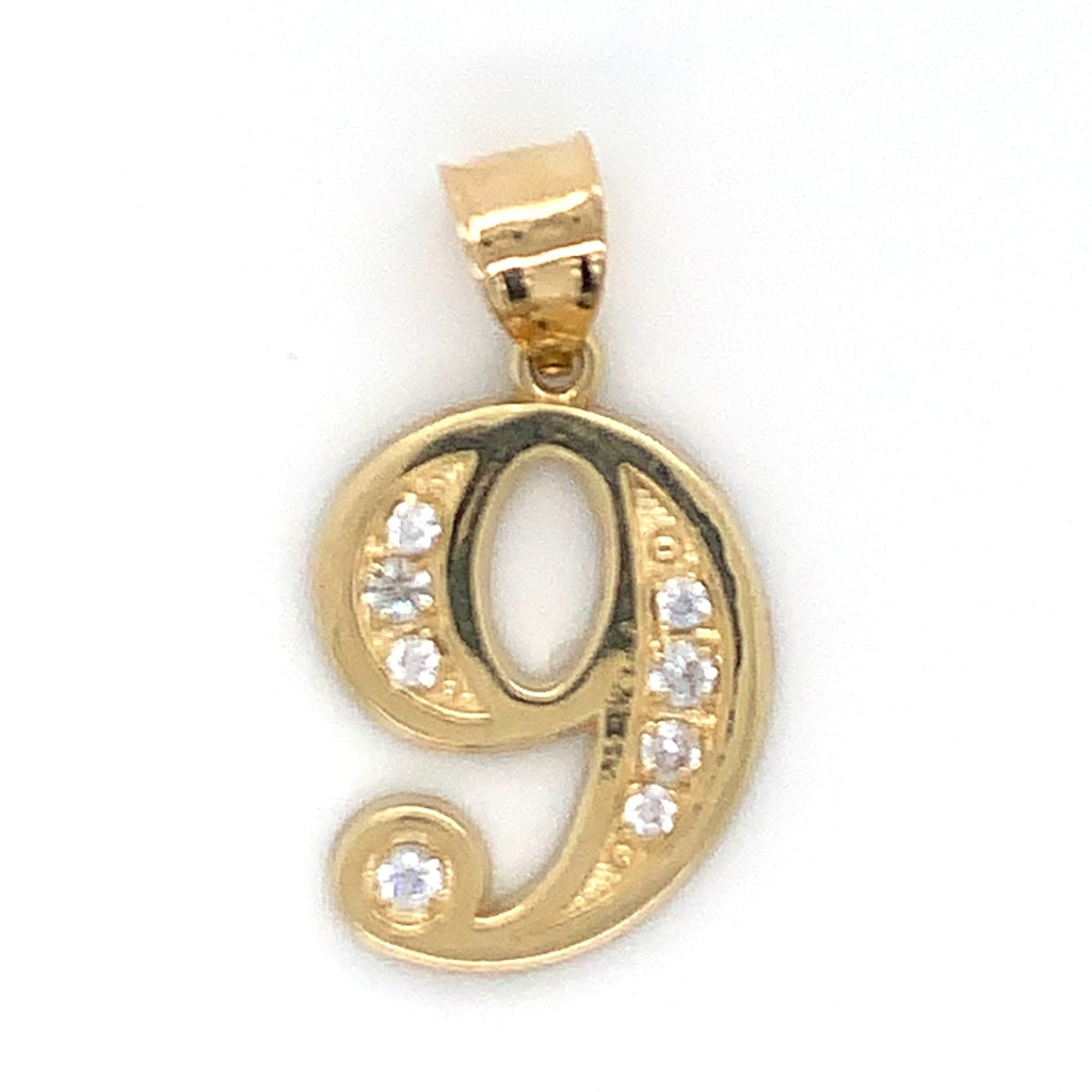 "10K Yellow Gold ""9"" Pendant"