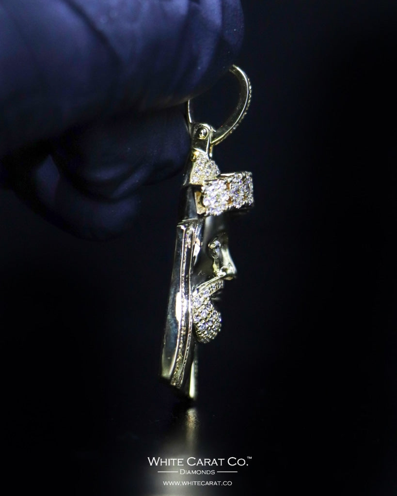 "2.19 CT. ""Jesus Head"" Gold Pendant in 10K Gold - White Carat Diamonds"