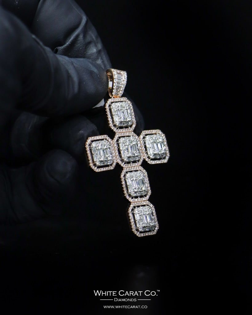 "2.20 CT. ""Studded Cross"" Gold Pendant in 14K Gold - White Carat - USA & Canada"