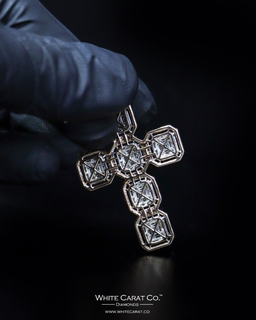 "2.20 CT. ""Studded Cross"" Gold Pendant in 14K Gold"