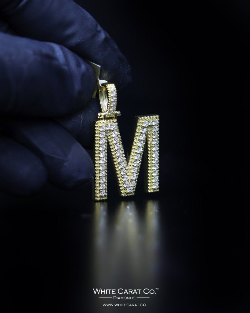 "0.87 CT. ""Letter M"" Gold Pendant in 10K Gold - White Carat - USA & Canada"