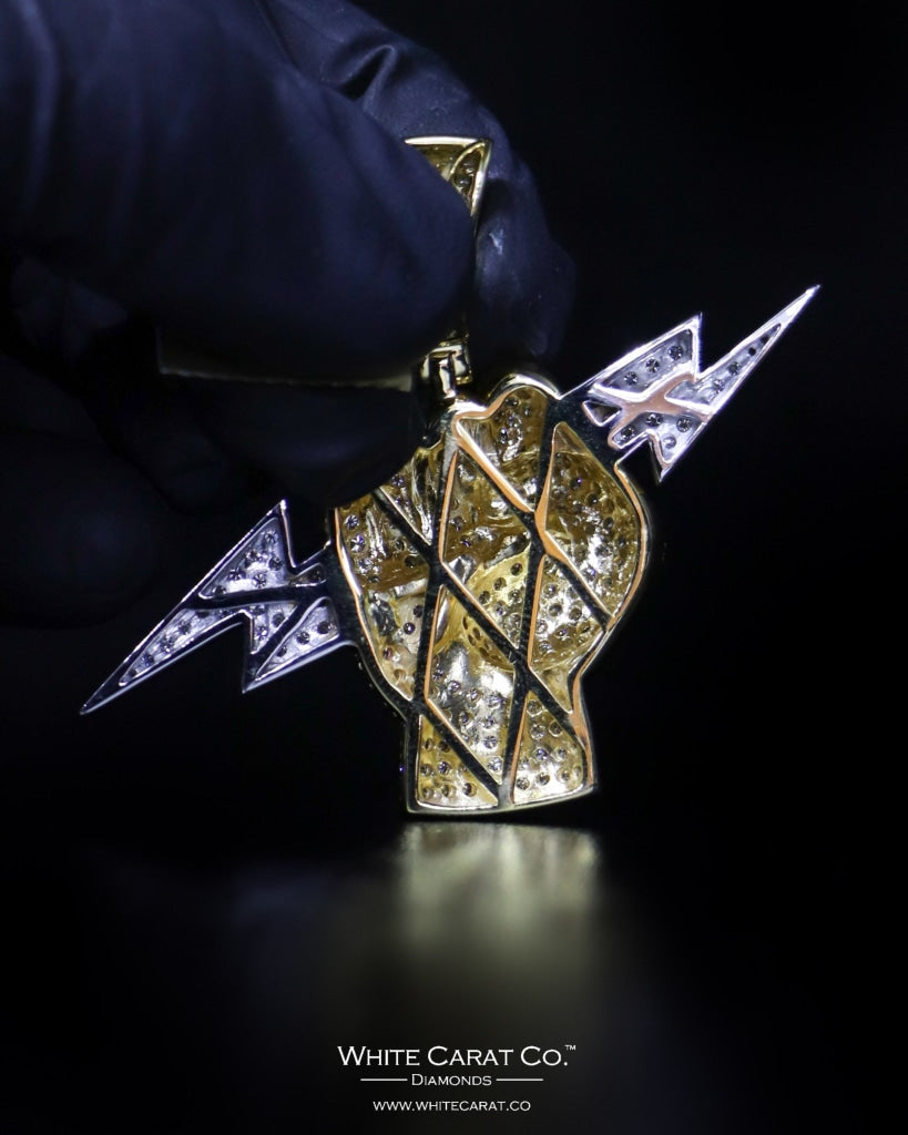 "5.15 CT. ""Thunderbolt Fist"" Gold Pendant in 10K Gold - White Carat - USA & Canada"