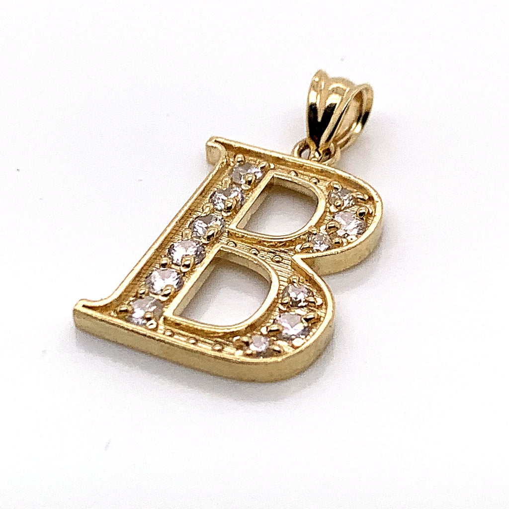 "10K Yellow Gold CZ ""B"" Pendant - White Carat Diamonds"