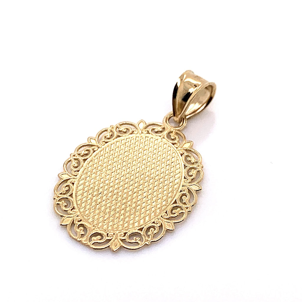 10K Yellow Gold Oval Aquarius Pendant - White Carat Diamonds
