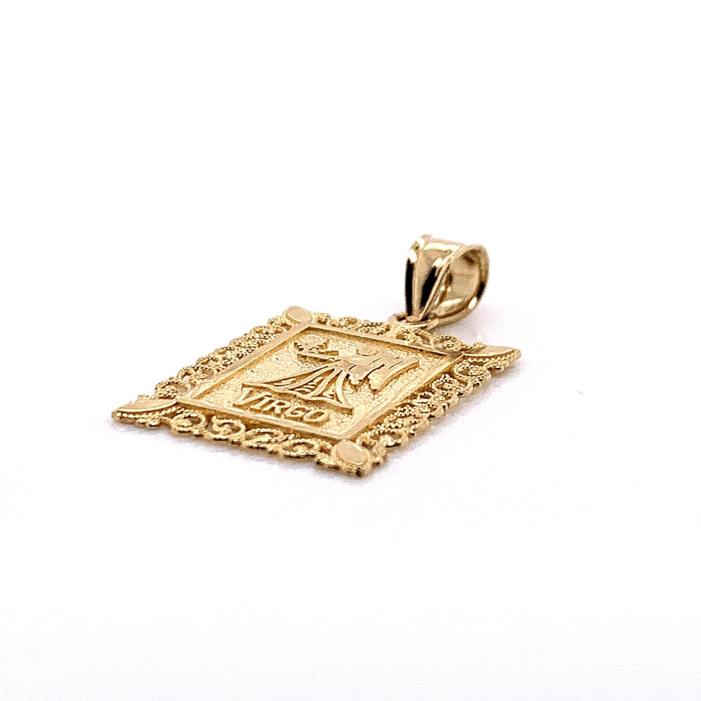 10K Yellow Gold Rectangle Virgo Pendant
