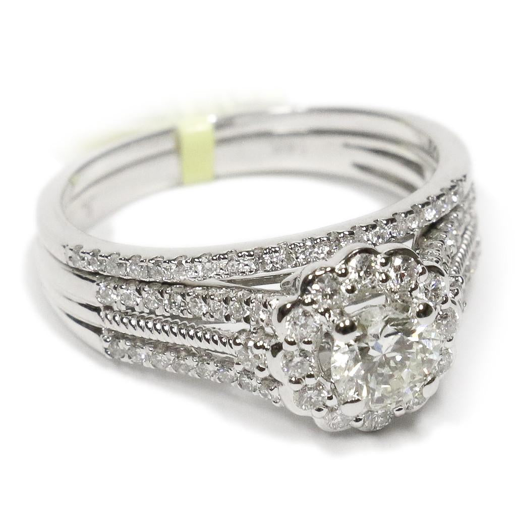 1.00 CT. Floral Halo Diamond Engagement Ring Set in 14K White Gold - White Carat Diamonds