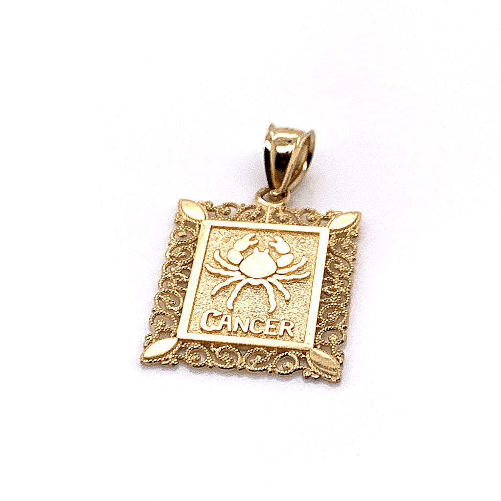 10K Yellow Gold Rectangle Cancer Pendant - White Carat Diamonds