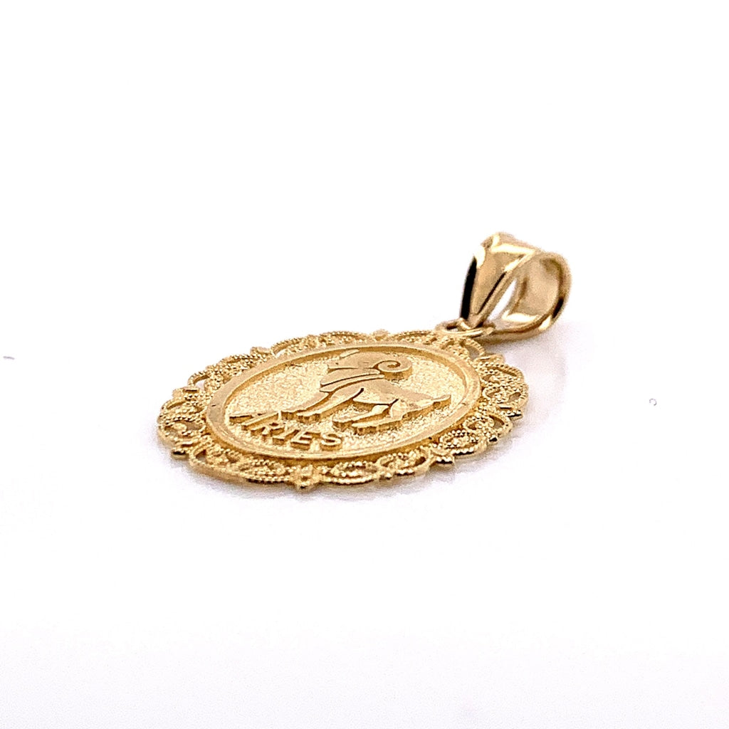 10K Yellow Gold Oval Aries Pendant