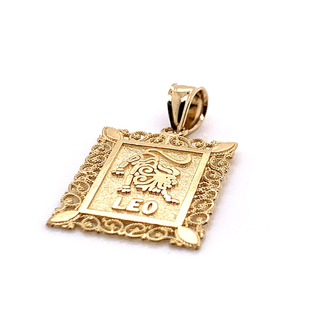 10K Yellow Gold Rectangle Leo Pendant - White Carat - USA & Canada