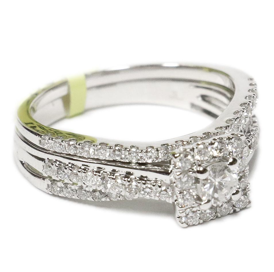0.75 CT. Square Diamond Engagement Ring in 14K White Gold - White Carat - USA & Canada