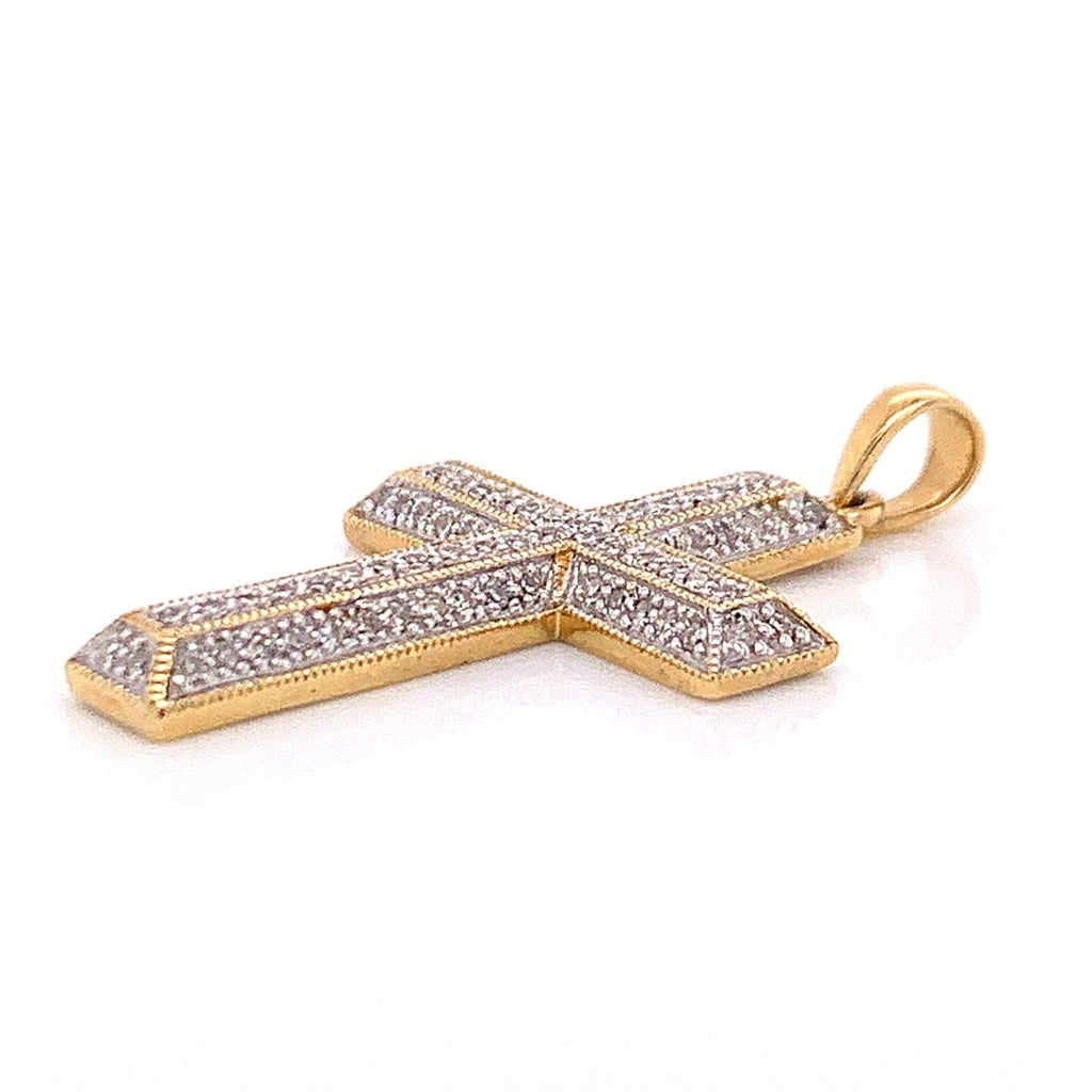 10K Yellow Gold CZ Encrusted Cross Pendant