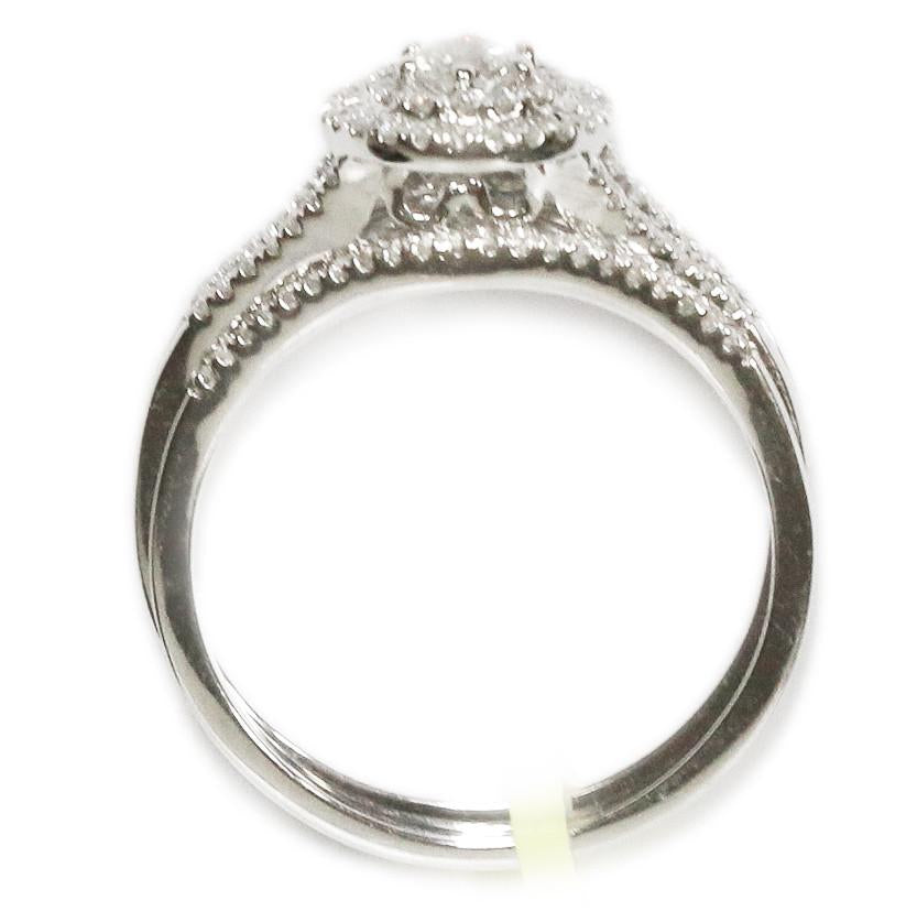0.50 CT. Halo Diamond Engagement Ring Set in 14K White Gold - White Carat Diamonds