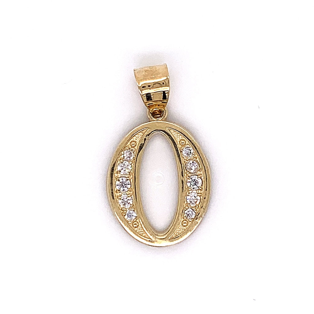 "10K Yellow Gold ""0"" Pendant - White Carat Diamonds"
