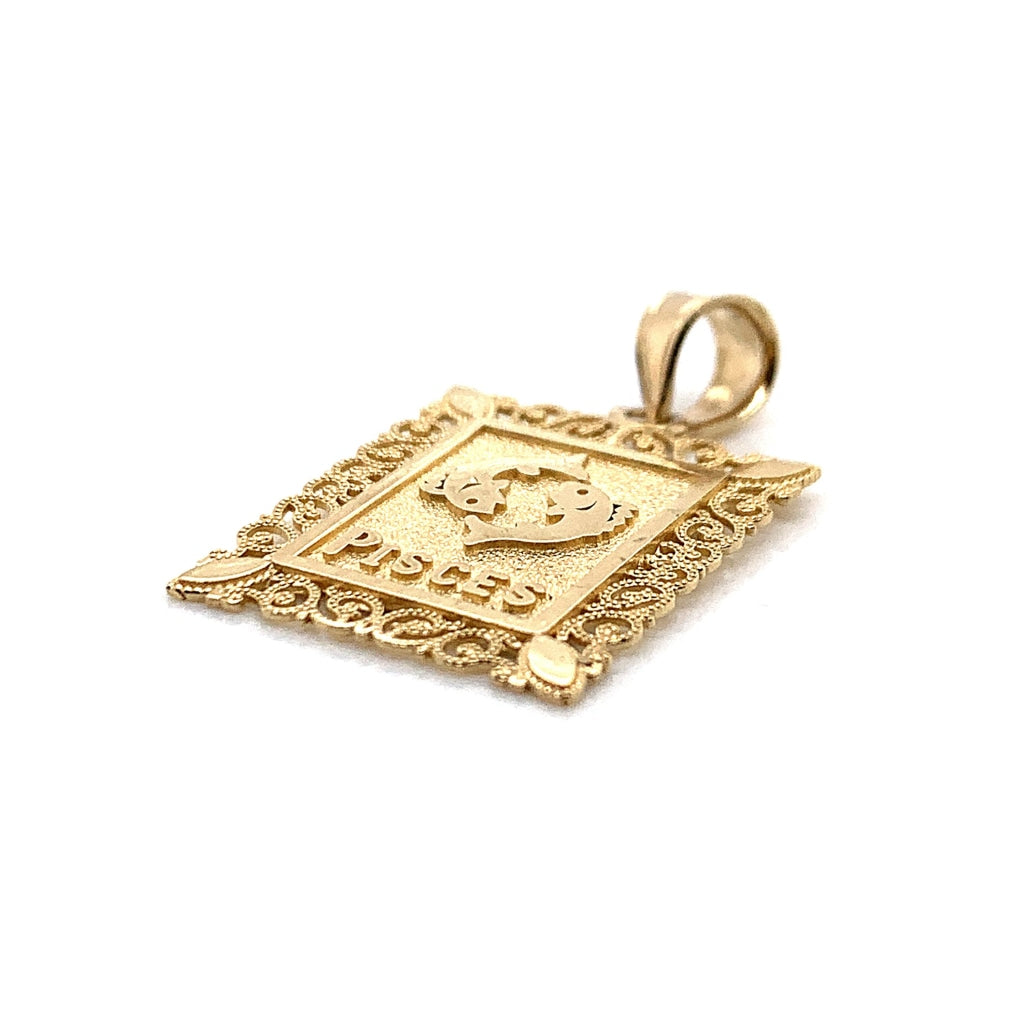 10K Yellow Gold Rectangle Pisces Pendant - White Carat - USA & Canada