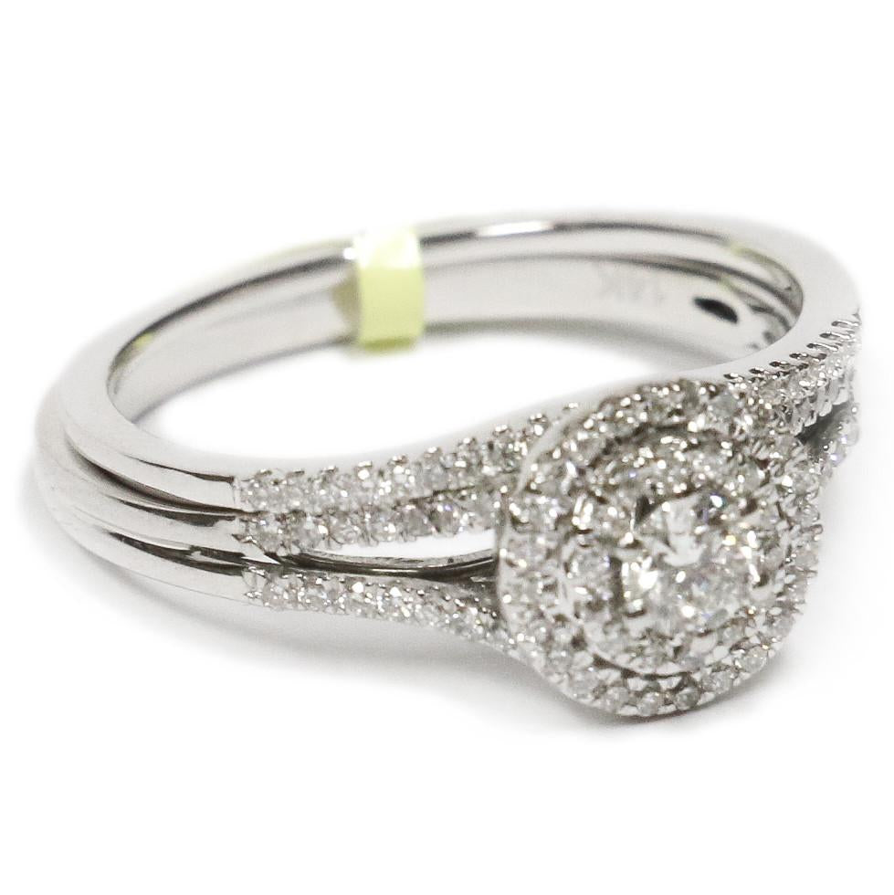 0.50 CT. Classic Halo Diamond Engagement Ring Set in 14K White Gold - White Carat Diamonds