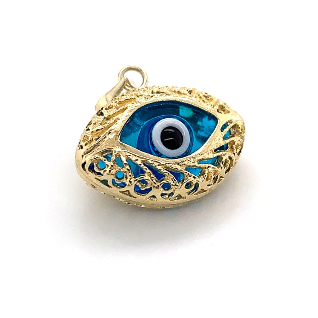 10K Yellow Gold Eye Shaped Evil Eye Pendant - White Carat - USA & Canada