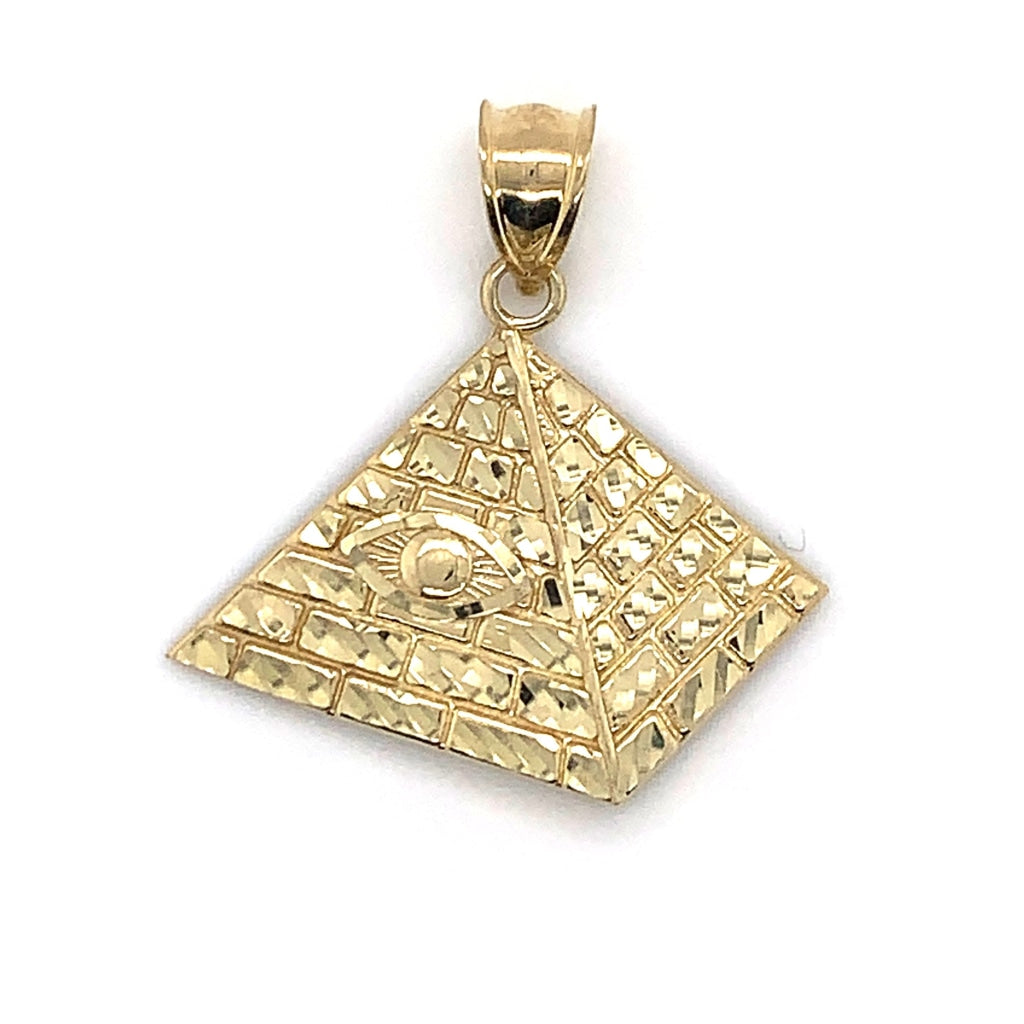 10K Yellow Gold Pyramid Pendant - White Carat Diamonds