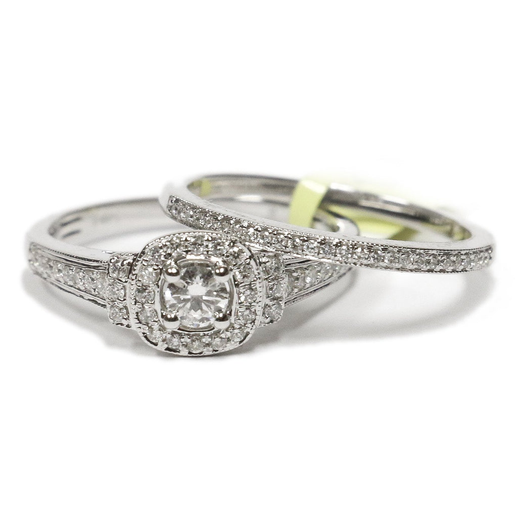 0.50 CT. Accented Square Halo Diamond Engagement Ring Set in 14K White Gold - White Carat Diamonds
