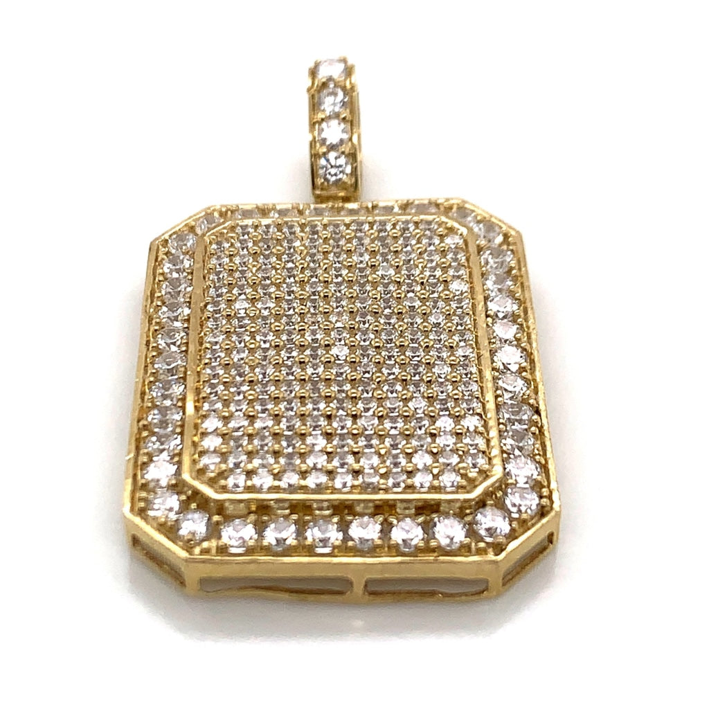 10K Yellow Gold CZ Encrusted Pendant