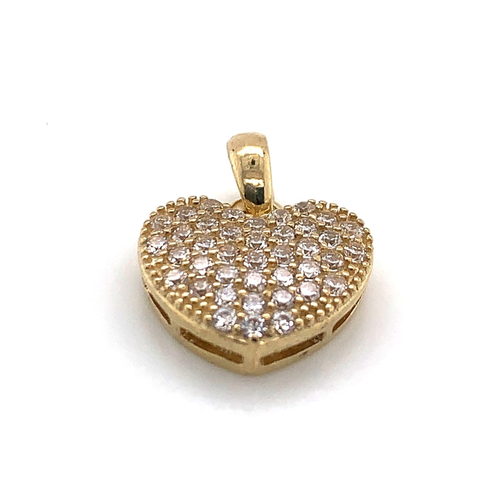 10K Yellow Gold CZ Encrusted Pendant - White Carat - USA & Canada