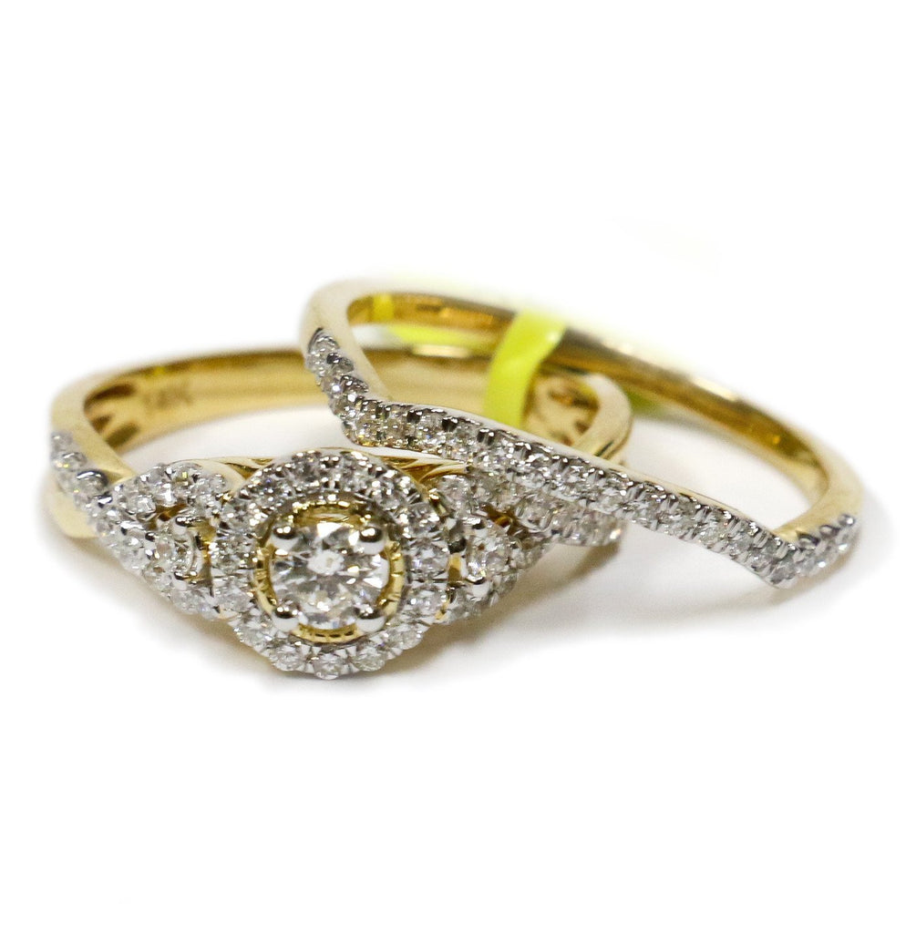 0.75 CT. Classic Halo Diamond Engagement Ring in 14K Yellow Gold - White Carat Diamonds