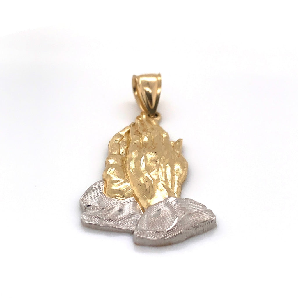 10K Yellow And White Gold Prayer Hands Pendant - White Carat - USA & Canada