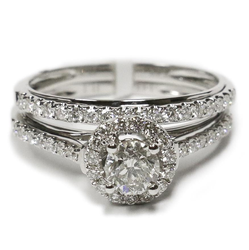 1.00 CT. Classic Halo Diamond Engagement Ring in 14K White Gold - White Carat Diamonds