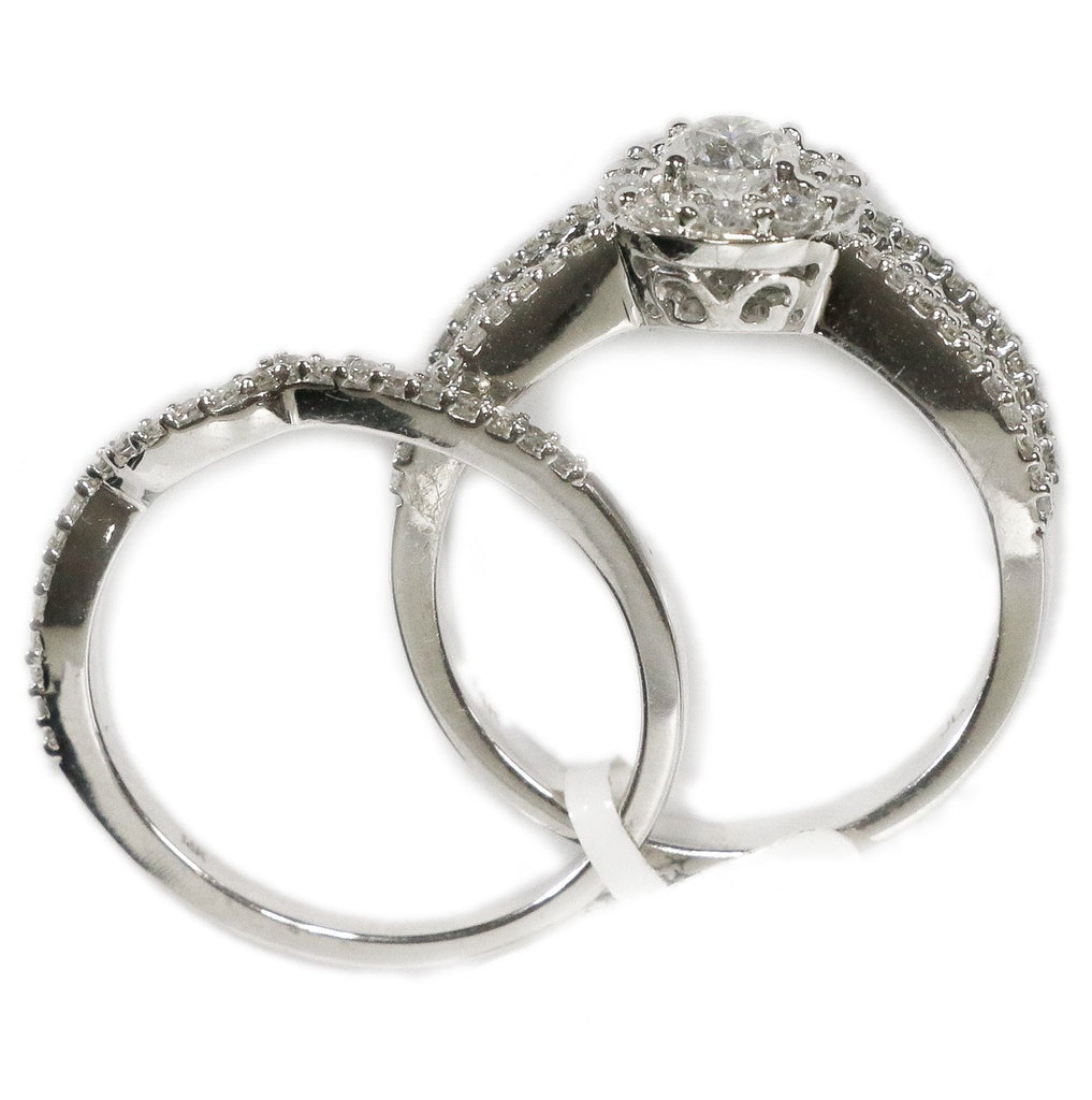 1.00 CT. Halo Diamond Engagement Ring Set in 14K White Gold - White Carat - USA & Canada