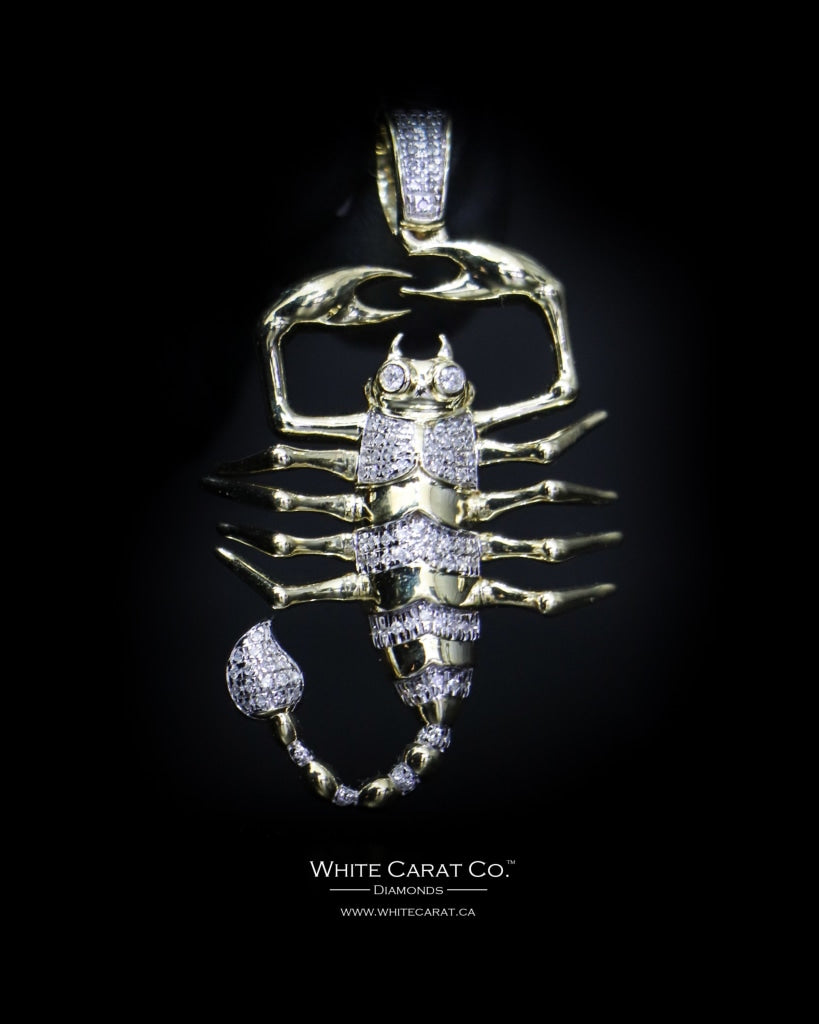 "0.26 CT ""Large Scorpion"" Pendant in 10K Gold - White Carat Diamonds"